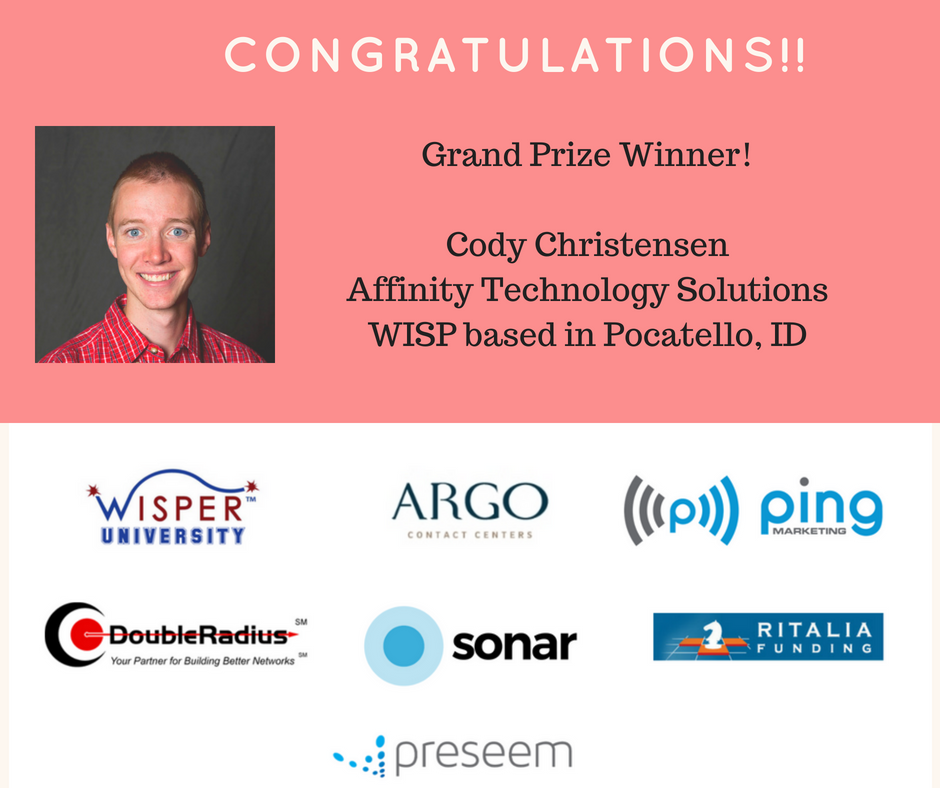 Cody WISP GiveAway winner